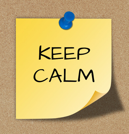 keep calm on yellow paper.  photo