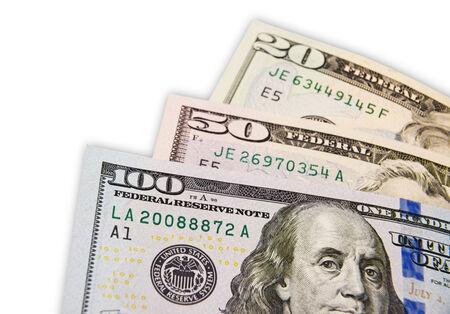 American three different dollar bills with Narrow Depth of Field. photo
