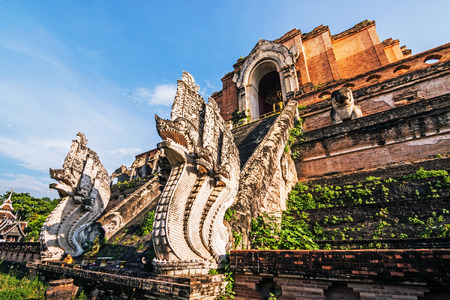 Ancient pagoda at Wat Chedi Luang temple in Chiang Mai, Thailand. Stock Photo