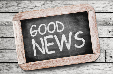 newsgroup: GOOD NEWS written on chalkboard