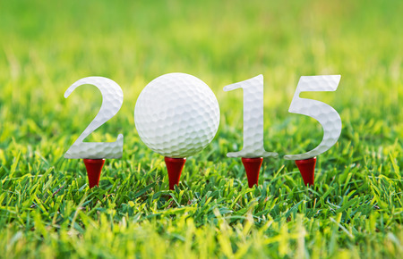 Happy new year 2015, Golf sport conceptual image 스톡 콘텐츠