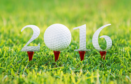 Happy new year 2016, Golf sport conceptual image ,the same concept available for 2015,2017,and 2018 year. 免版税图像