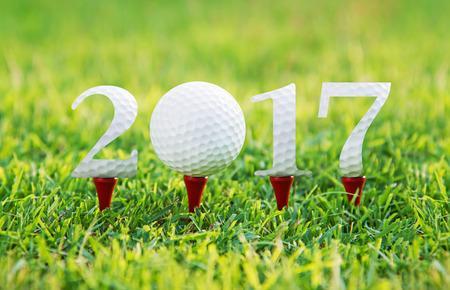 Gelukkig Nieuwjaar 2017, Golf sport conceptueel beeld, hetzelfde concept voor 2015 en 2016 jaar. Stockfoto