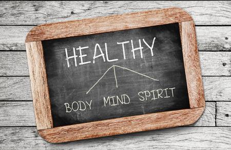 mind body soul: Concetto sano. Corpo, disegno Mente e Spirito sulla lavagna Archivio Fotografico