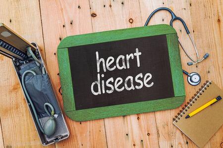 heart disease: Heart disease on chalkboard