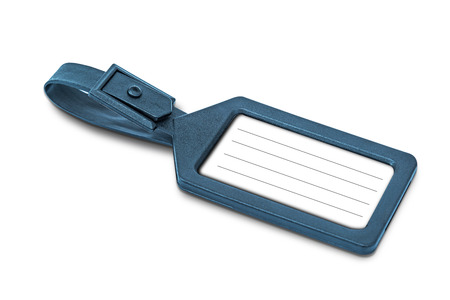 Luggage tag with copy space over white background photo