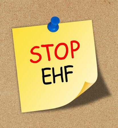 hemorrhagic: Stop EHF (Ebola hemorrhagic fever) on paper note
