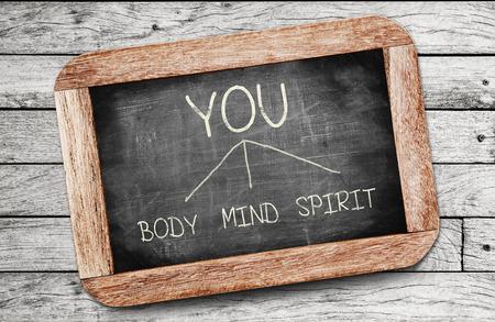 De relatie tussen lichaam, geest, geest en u, concept gepresenteerd met wit krijt en kleine leisteen schoolborden