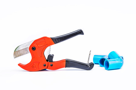 pvc pipe cutter isolated on white background photo