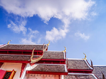 pediment: The pediment in temple,Wat Phra That Doi Kham, Chiang Mai Thailand.