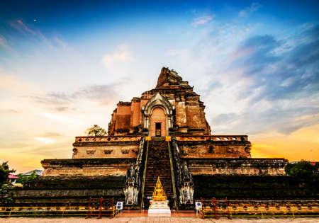 Ancient pagoda at Wat Chedi Luang temple in Chiang Mai, Thailand. photo
