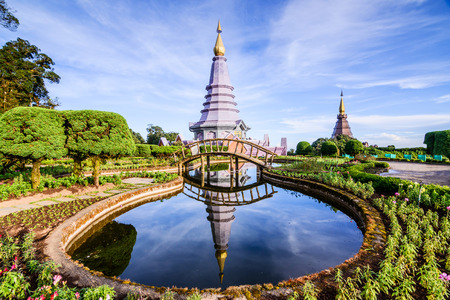 doi: Two Pagoda on the top in an Inthanon mountain, Chiang Mai, Thailand.