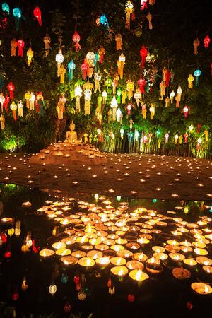 yeepeng: Floating lantern in Wat Phan Tao Temple, Chiang Mai, Thailand. Stock Photo
