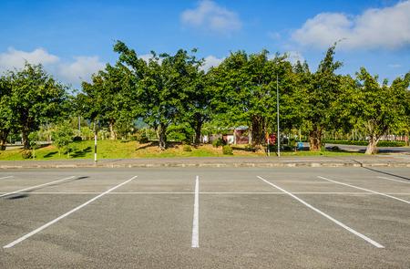 Vacant Parking Lot ,Parking lane outdoor in public park