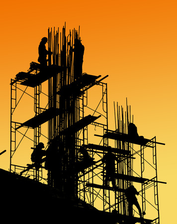 silhouette of construction worker on scaffold Imagens - 34039859
