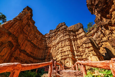 rinsing: Phachor ,amazing in nature erosion by wind and rain, Mae Wang National Park,Chiang Mai,Thailand. Stock Photo
