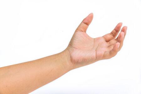 interdigital: Woman hand holds virtual card or smart phone on white background
