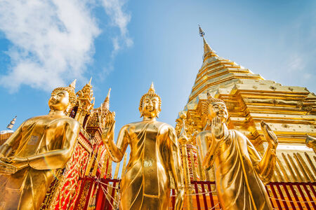 southeast asia: Golden pagoda at Wat Phra That Doi Suthep, Chiang Mai, Thailand.