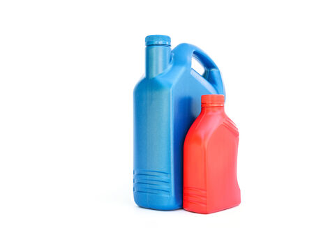 milliliters: Lubricants plastic bottle on white background
