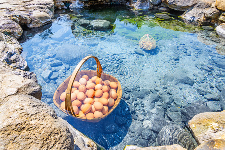 Eggs boiling in hot spring, Chae Son Hot Spring at Lampang province, Thailand
