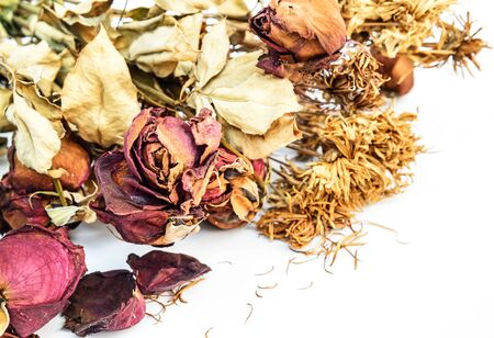 Dried roses and chrysanthemums flowers isolated on white background photo