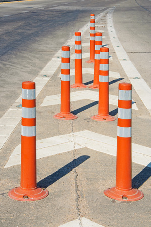 bollard: Orange Temporary Bollard for traffic safety.
