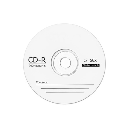 Blank CD isolated on white background.
