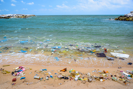 Pollution on the beach of tropical sea. Stockfoto
