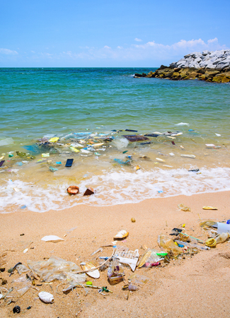 detritus: Pollution on the beach of tropical sea. Stock Photo