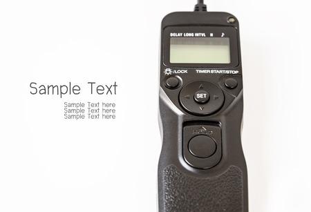 dslr: Remote control shutter switch of DSLR camera Stock Photo
