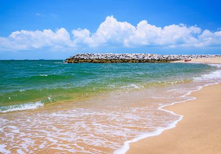 breakwater: Stone breakwater at the beach
