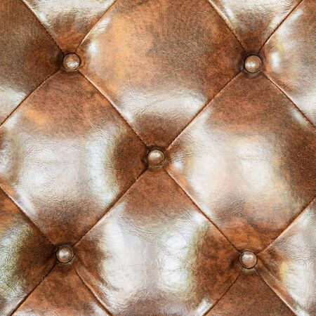 chambered: Brown leather upholstery sofa for decoration.