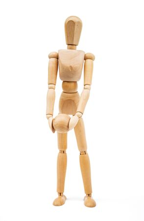 immovable: A wooden Mannequin isolated on white background Stock Photo