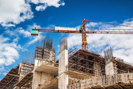 Construction site on blue sky Stock Photo