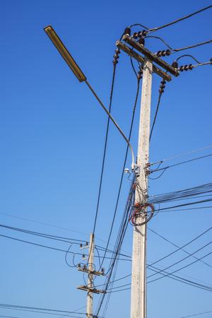 megawatts: power line on blue sky.