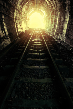hopefulness: Natural light at the end of the tunnel. Stock Photo