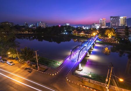 Iron bridge in twilight  Chiang Mai  Thailand. Stock Photo