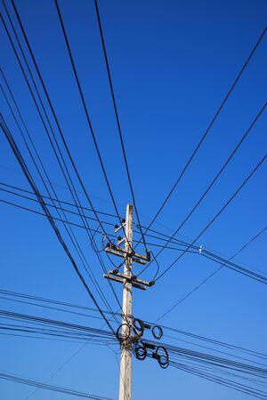 'power line': Power line on blue sky. Stock Photo