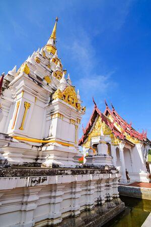 thani: Wat Phrathat Chaiya Worawihan, Public ancient temple ,Surat Thani province, Thailand. Stock Photo