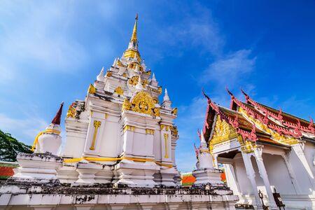 Wat Phra Borommathat Chaiya Worawihan, an ancient temple at Chaiya district,Surat Thani province, South of Thailand. Stock Photo