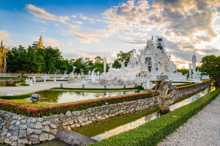 bangkok temple: Thailand temple or grand white church Call Wat Rong Khun,at Chiang Rai province, Thailand,Contemporary unconventional Buddhist temple.