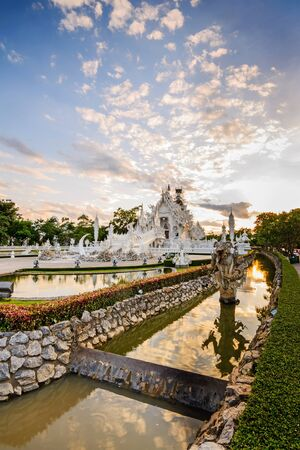 temple thailand: Thailand temple or grand white church Call Wat Rong Khun,at Chiang Rai province, Thailand,Contemporary unconventional Buddhist temple.