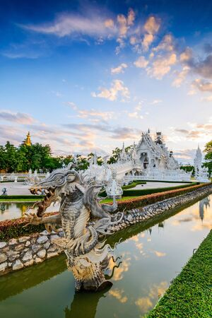 unconventional: Thailand temple or grand white church Call Wat Rong Khun,at Chiang Rai province, Thailand,Contemporary unconventional Buddhist temple.