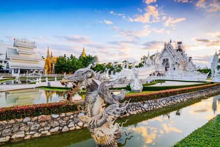 veneration: Thailand temple or grand white church Call Wat Rong Khun,at Chiang Rai province, Thailand,Contemporary unconventional Buddhist temple.