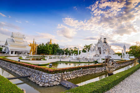 chiangmai province: Thailand temple or grand white church Call Wat Rong Khun,at Chiang Rai province, Thailand,Contemporary unconventional Buddhist temple.