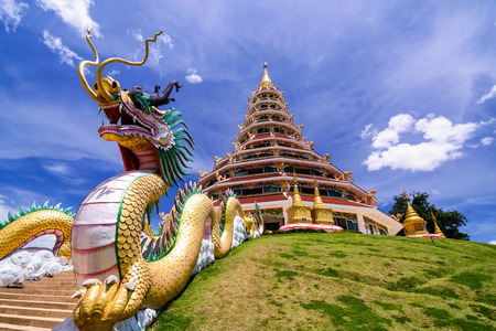 Wat Hyua Pla Kang, Chinese temple in Chiang Rai Thailand, This is the most popular temple in Chiang Rai. Stock Photo