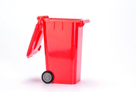 segregate: Trash can (garbage bin) on white background.