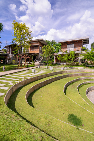 seating: Seating with green grass in park
