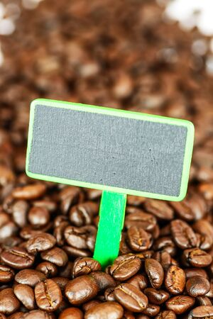 beverage display: Coffee beans with blank chalkboard signs Stock Photo
