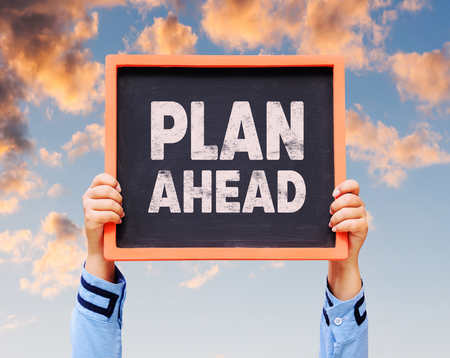 Plan ahead on blackboard. Stock Photo